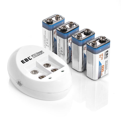 4 EBL 600mAh 9v Rechargeable Batteries With Wall Charger