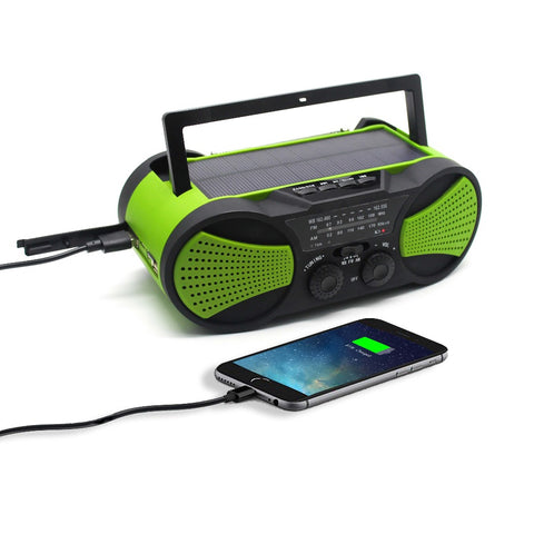 Multi-Functional Emergency Solar Powered Radio with Phone Charger and Flashlight