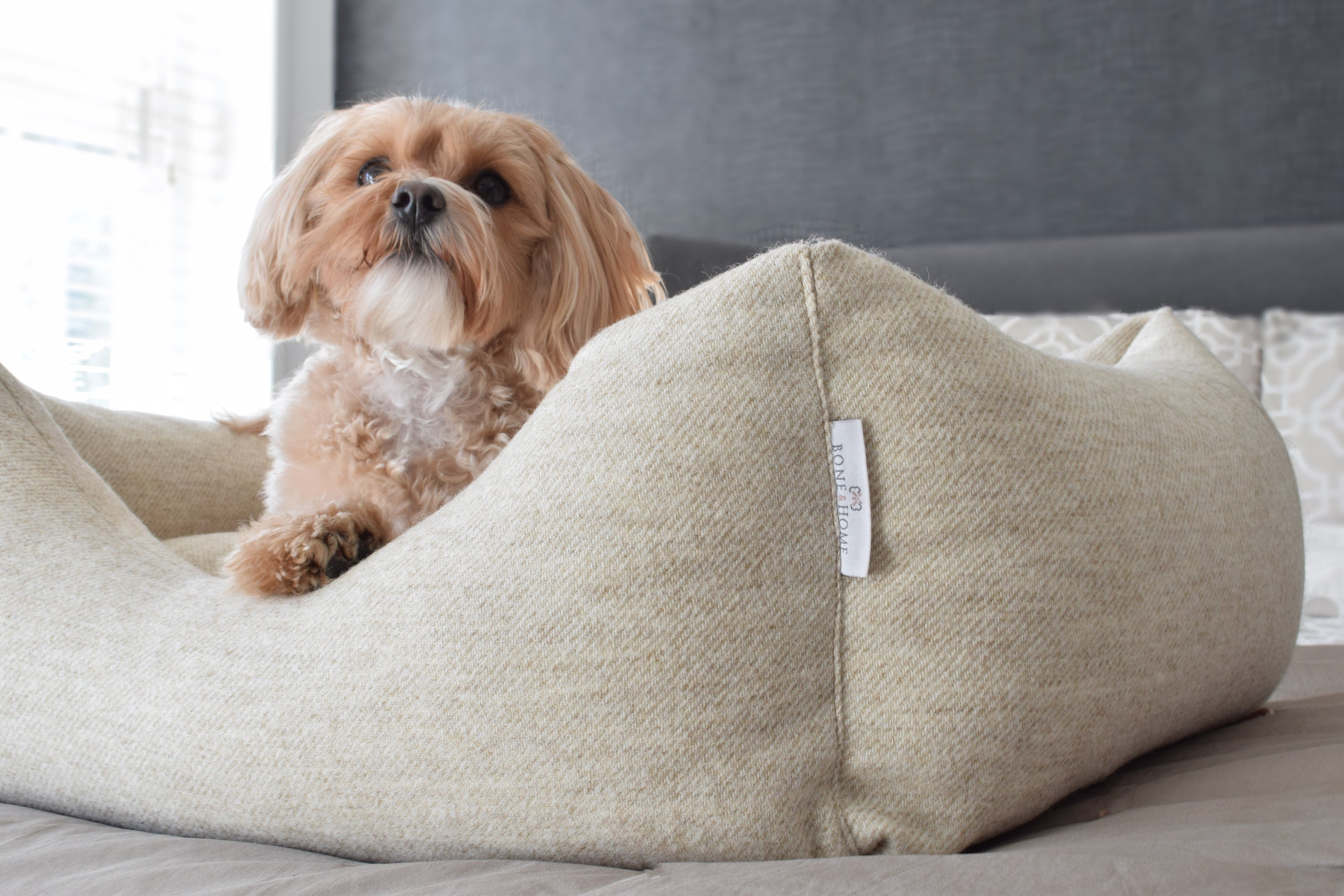 handle fletcher heather dog luxury zoom pet bed product of grey cloud beds images dream london