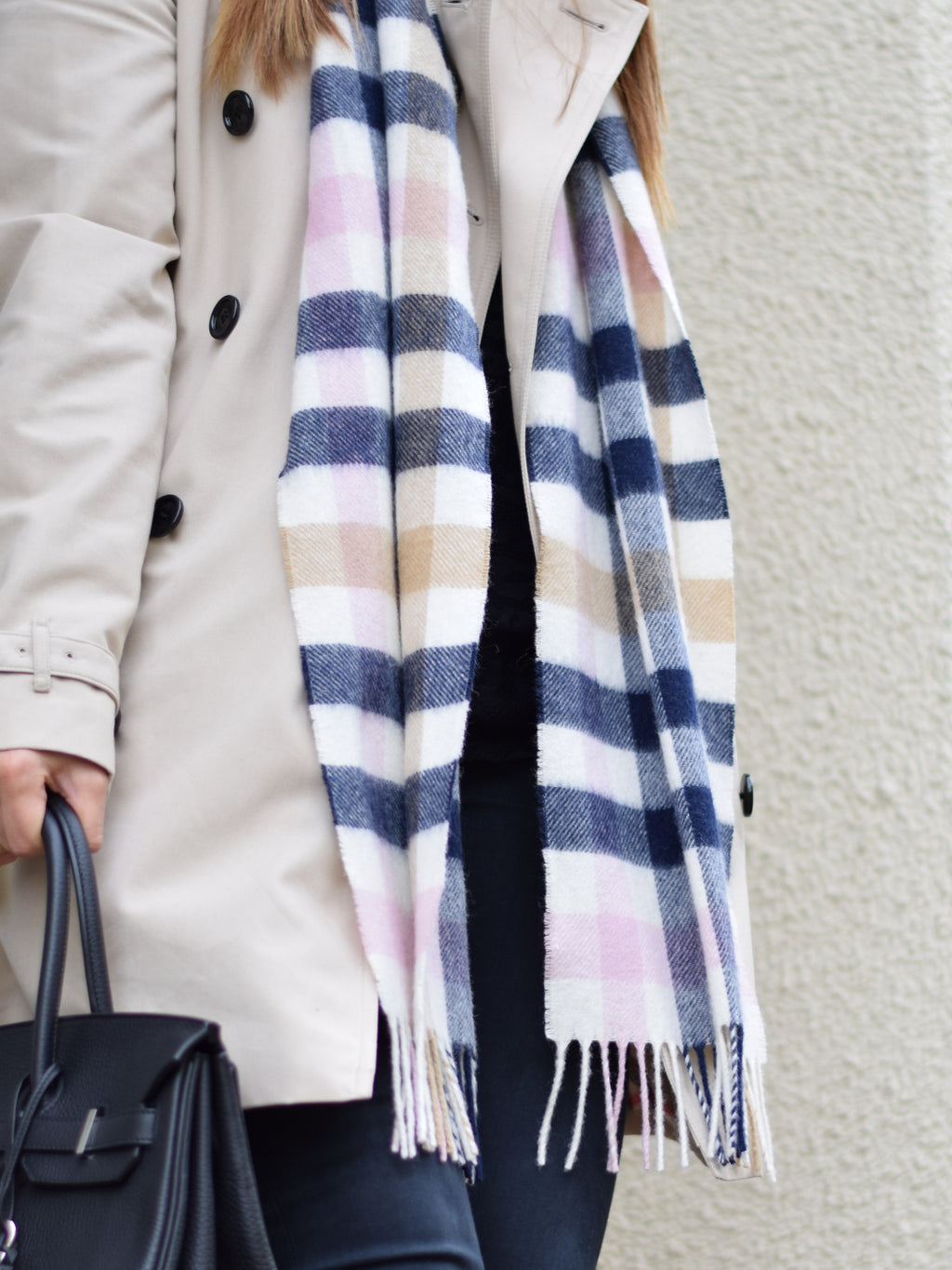Limited Edition Wool Scarf Pink Check