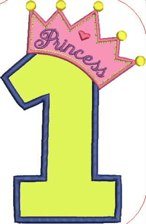Princess Crown and Number One Embroidery Applique Design - IC1derful Designs