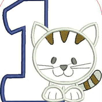Cat and Number One Embroidery Applique Design - IC1derful Designs