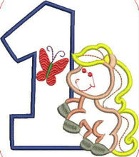 Pony and Number One Embroidery Applique Design - IC1derful Designs