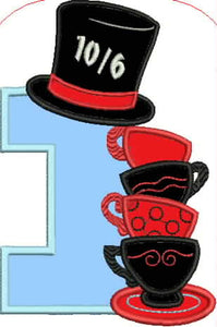Tea Cup and Number One Embroidery Applique Design - IC1derful Designs