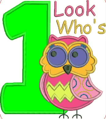 Owl and Number One Embroidery Applique Design - IC1derful Designs