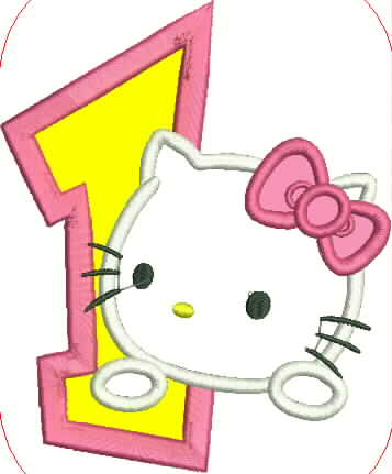 Hello Kitty and Number One Embroidery Applique Design - IC1derful Designs