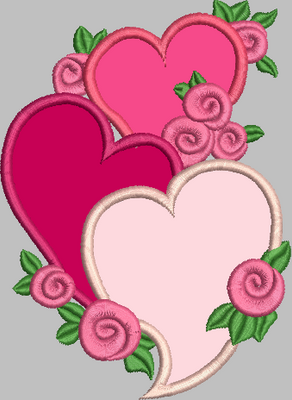 Hearts Floral Embroidery Applique Design (x3)