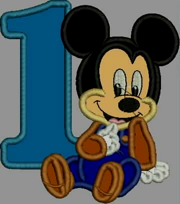 Baby 1st Birthday Embroidery Design Applique - Mickey Mouse - IC1derful Designs