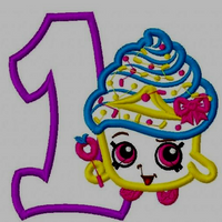"Baby 1st Birthday Shopkins Embroidery Applique Designs ""Cupcake Queen"" - IC1derful Designs"