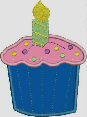 Cupcake Embroidery Applique Design with Candle - IC1derful Designs