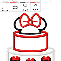 Minnie Mouse Cake Embroidery Applique Designs - IC1derful Designs