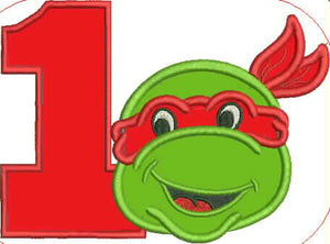 Kids Ninja Turtle  1st Birthday Embroidery Applique Design - IC1derful Designs