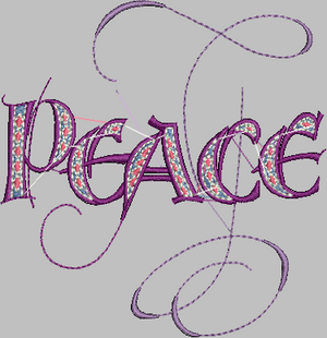 Word Embroidery Designs (PEACE) - IC1derful Designs