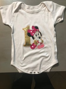Baby 1st Birthday Embroidery Design Applique - Minnie Mouse - IC1derful Designs