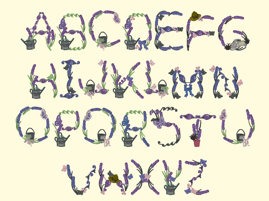 BX Fonts Embrilliance for Machine Embroidery Design COUNTRY LAVENDER 3.5 Inch - IC1derful Designs