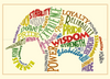 Elephant Embroidery Applique Design Words Outline - IC1derful Designs