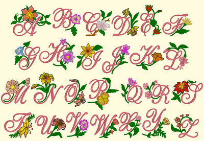 BX Fonts Embrilliance for Machine Embroidery Design FLORAL ALPHABET 2 Inch - IC1derful Designs