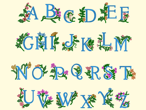BX Fonts Embrilliance for Machine Embroidery Design FLORA ALPHA 1.5 Inch - IC1derful Designs