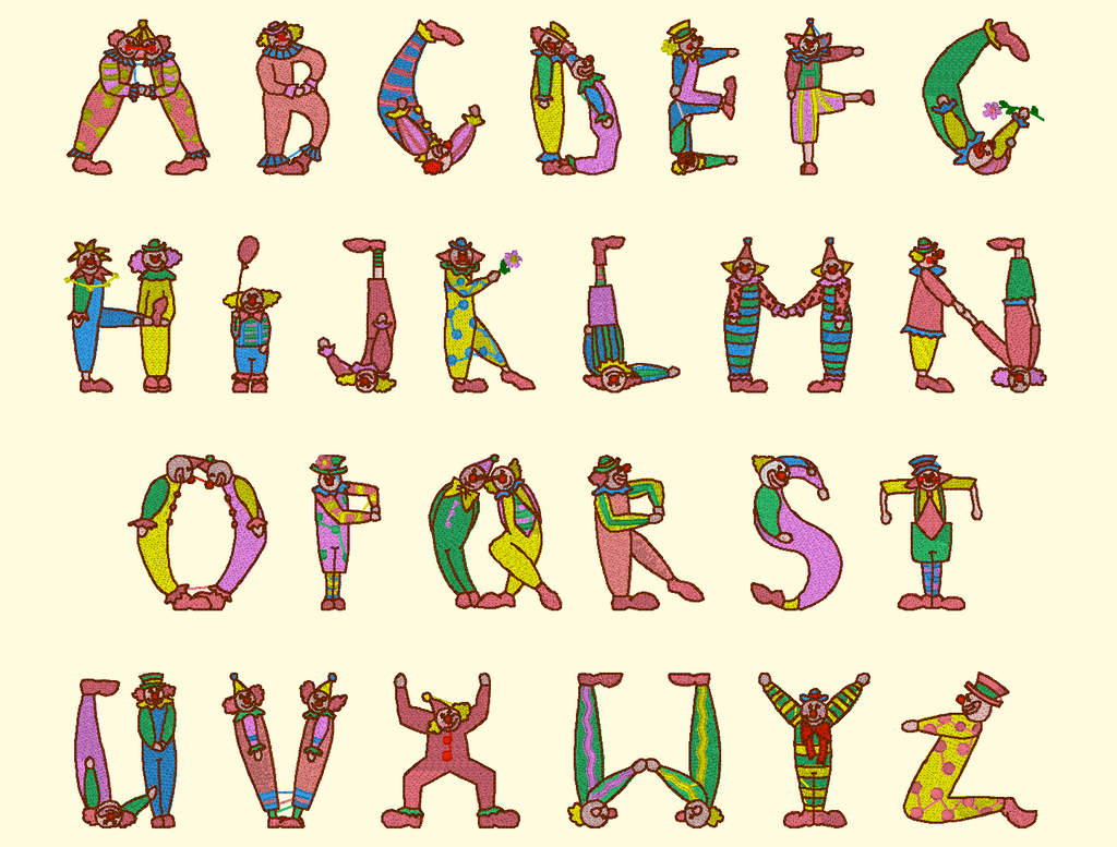 BX Fonts Embrilliance for Machine Embroidery Design CLOWN Alpha 2.5 Inch - IC1derful Designs