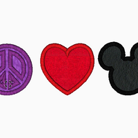 "Mickey Mouse Embroidery Applique Designs ""Peace, Love and Mouse"" - IC1derful Designs"