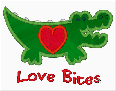 Alligator Embroidery Applique Designs Download (Love Bites) - IC1derful Designs