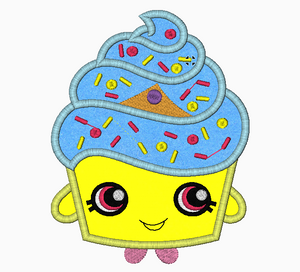 "Shopkins Embroidery Applique Designs ""Cupcake Queen"" - IC1derful Designs"