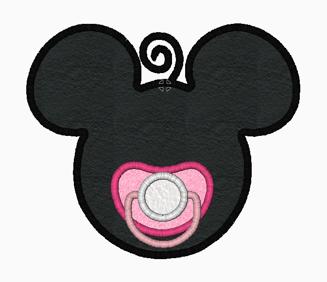 "Minnie Mouse Embroidery Applique Designs ""Girl Pacifier"" - IC1derful Designs"
