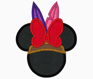 "Minnie Mouse Embroidery Applique Designs ""INDIAN Girl"" - IC1derful Designs"