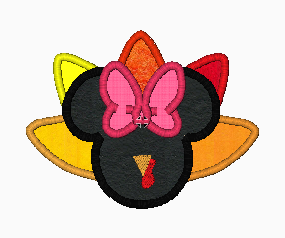 "Minnie Mouse Embroidery Applique Designs ""TURKEY Girl"" - IC1derful Designs"