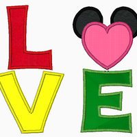 "Mickey Mouse Embroidery Applique Designs ""Love and Mickey Heart"" - IC1derful Designs"
