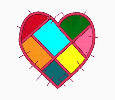 Heart Embroidery Applique Design (Patchwork) - IC1derful Designs