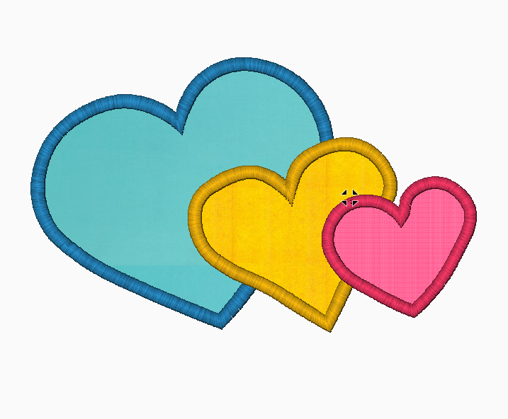 Hearts Embroidery Applique Design ( (x3) Mixed - IC1derful Designs