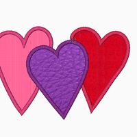Hearts Embroidery Applique Design (x3) - IC1derful Designs