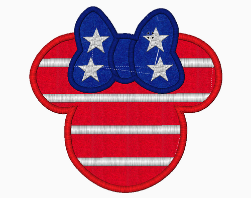 Minnie Mouse Embroidery Applique Designs (American Flag) - IC1derful Designs