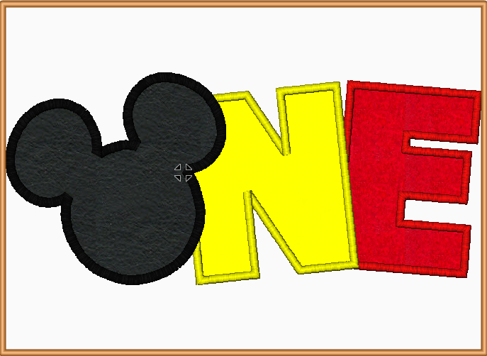 "Mickey Mouse ""ONE"" Embroidery Applique Design - IC1derful Designs"