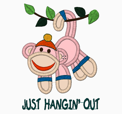Sock Monkey Embroidery Applique Design Hangin Out - IC1derful Designs