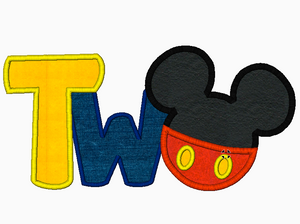 "Mickey Mouse ""TWO"" Embroidery Applique Design - IC1derful Designs"