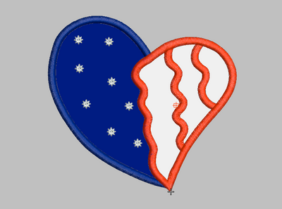 Patriotic Heart Embroidery Applique Design - IC1derful Designs