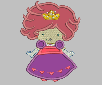 Little Cute Princess Embroidery Applique Design - IC1derful Designs