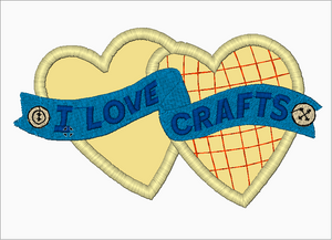 "Machine Embroidery Applique Design - ""I LOVE CRAFTS"" - IC1derful Designs"