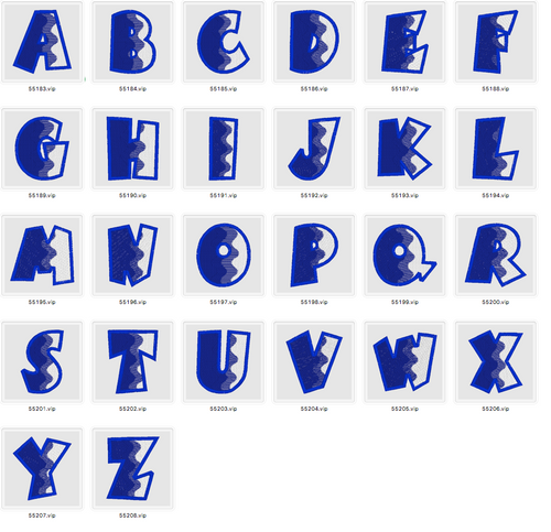 BX Fonts Embrilliance Abstract Alphabet Embroidery Design 4 inch - IC1derful Designs