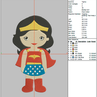 Tsum Tsum Embroidery Design - Wonder Woman (Fill) - IC1derful Designs