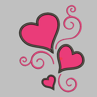 Hearts and Swirls Embroidery Applique Design (x3) - IC1derful Designs