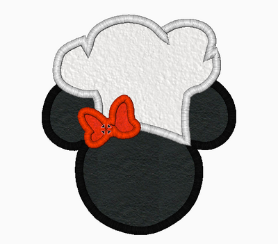 Minnie Mouse Ears CHEF Machine Embroidery Applique Designs - IC1derful Designs