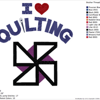 "Machine Embroidery Applique Design - ""I LOVE QUILTING"" - IC1derful Designs"