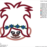 POPPY Troll Embroidery Applique Designs - IC1derful Designs