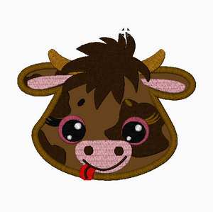 Farm COW Face Embroidery Applique and Fill Stitch Designs - IC1derful Designs