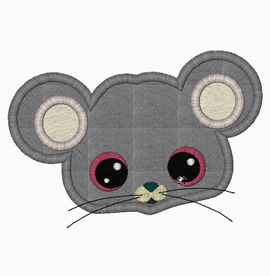 Farm MOUSE Face Embroidery Applique and Fill Stitch Designs - IC1derful Designs