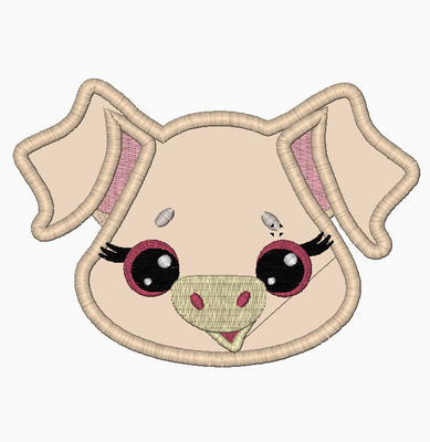 Farm PIG Face Embroidery Applique and Fill Stitch Designs - IC1derful Designs