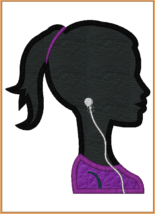 Girl with Earphones Embroidery Applique and Fill Design - IC1derful Designs